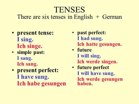 TENSES There are six tenses in English + German present tense: I sing. Ich singe. simple past: I sang. Ich sang. present perfect: I have sung. Ich habe.