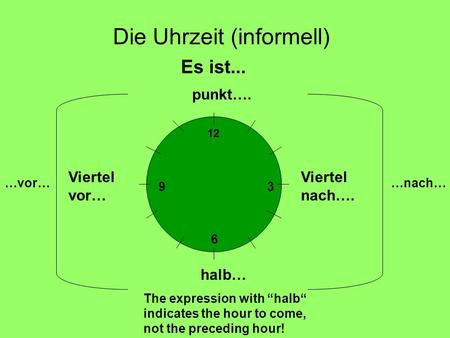 Die Uhrzeit (informell) Es ist... punkt…. Viertel nach…. halb… The expression with halb indicates the hour to come, not the preceding hour! Viertel vor…