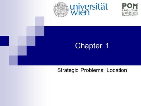Chapter 1 Strategic Problems: Location. QEM - Chapter 1 Location problems Full truck loadtransportation … CW 1 CW 2 Central warehouse FTL or tourstransportation.