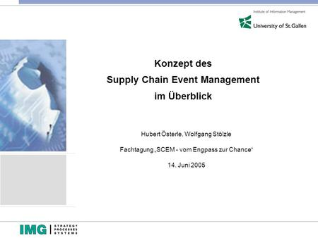 Konzept des Supply Chain Event Management im Überblick