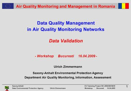 1 Saxony-Anhalt EU Twinning Project RO 2006/IB/EN/09 State Environmental Protection Agency Ulrich ZimmermannWorkshop Bucuresti 16.04.2009 Air Quality Monitoring.