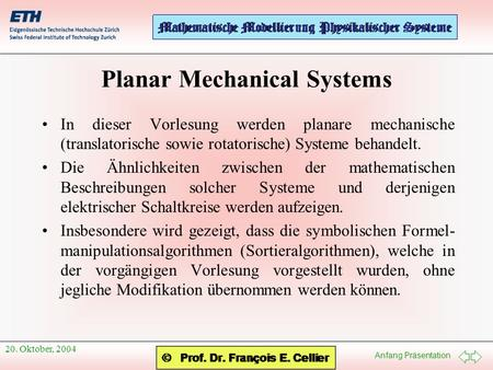 Planar Mechanical Systems