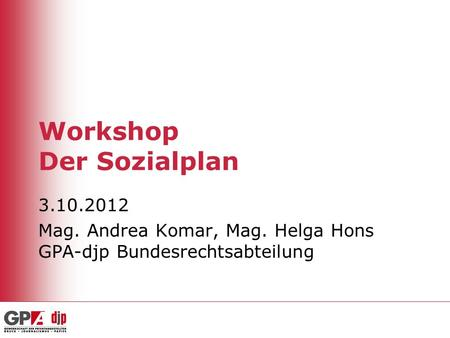 Workshop Der Sozialplan