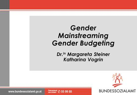 Gender Mainstreaming Gender Budgeting Dr. in Margareta Steiner Katharina Vogrin.