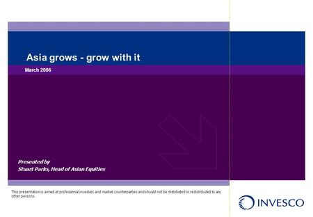Presented by Stuart Parks, Head of Asian Equities Asia grows - grow with it March 2006 This presentation is aimed at professional investors and market.