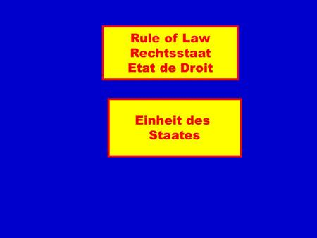 Rule of Law Rechtsstaat Etat de Droit Einheit des Staates.