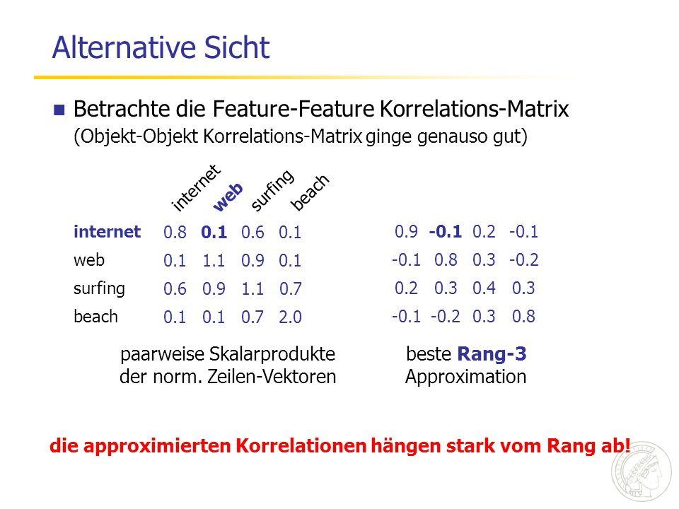 Zentrale Beobachtung Abhängigkeit der Korrelation eines festen Paares vom Rang k der Approximation node / vertex 2004006000 Rang der Approximation logic / logics 2004006000 Rang der Approximation logic / vertex 2004006000 Rang der Approximation Korrelation 0 kein einzelner Rang ist gut für alle Paare!