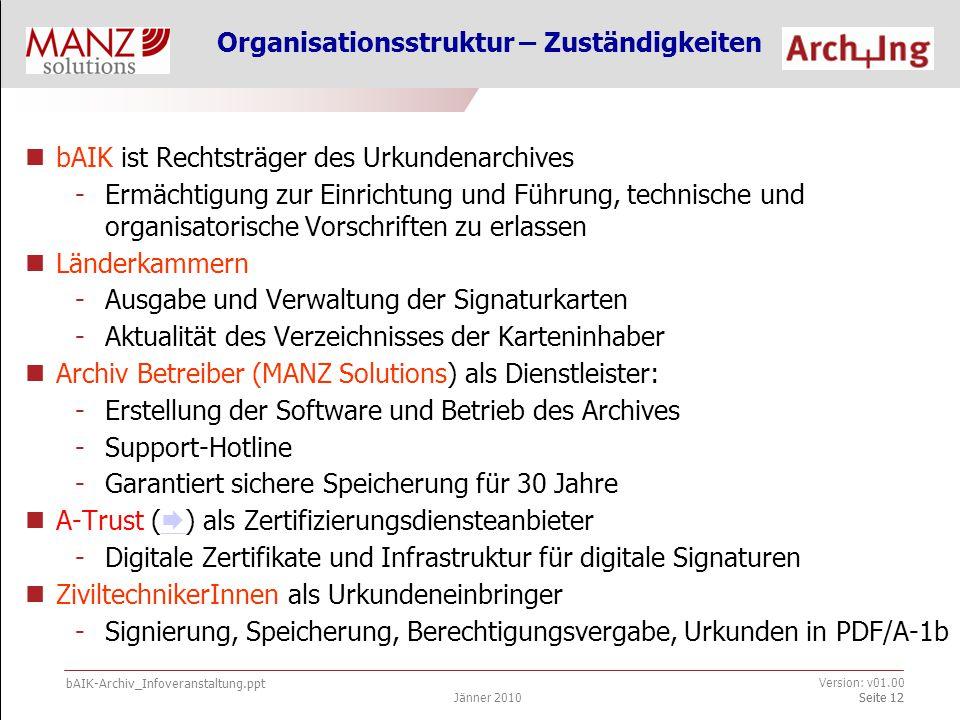 bAIK-Archiv_Infoveranstaltung.ppt Jänner 2010 Version: v01.00 Seite 13 Technische Voraussetzungen Handelsüblicher PC + Internetzugang Signaturkarten mit qualifiziertem Zertifikat (  ) der Firma A-Trust bei Ihrer Länderkammer  Software bei Ihrer Länderkammer bzw.
