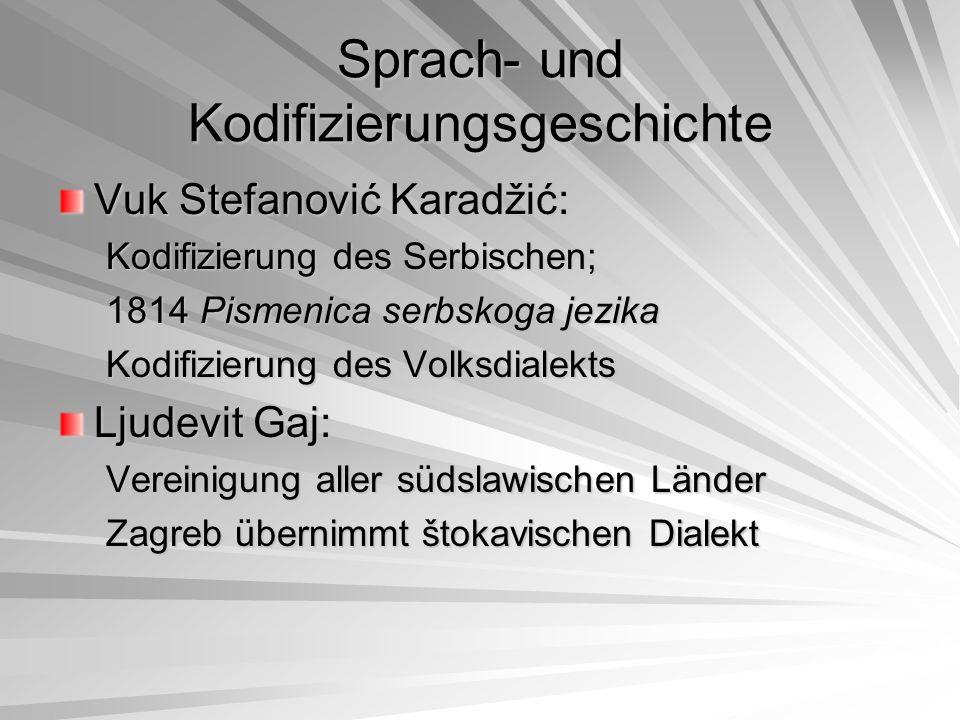 """Sprach- und Kodifizierungsgeschichte Wiener Schriftsprachen-Vereinbarung (1815): """"Die Unterzeichnenten haben sich - wissend, dass ein Volk eine Literatur haben sollte, und daher mit Bedauern beobachtend, wie unsere Literatur nicht nur beim Alphabet, sonder auch in der Orthographie aufgespalten ist – dieser Tage getroffen, um zu besprechen, wie wir und – soweit dies zurzeit erreichbar ist- in der Literatur einigen und vereinigen können"""