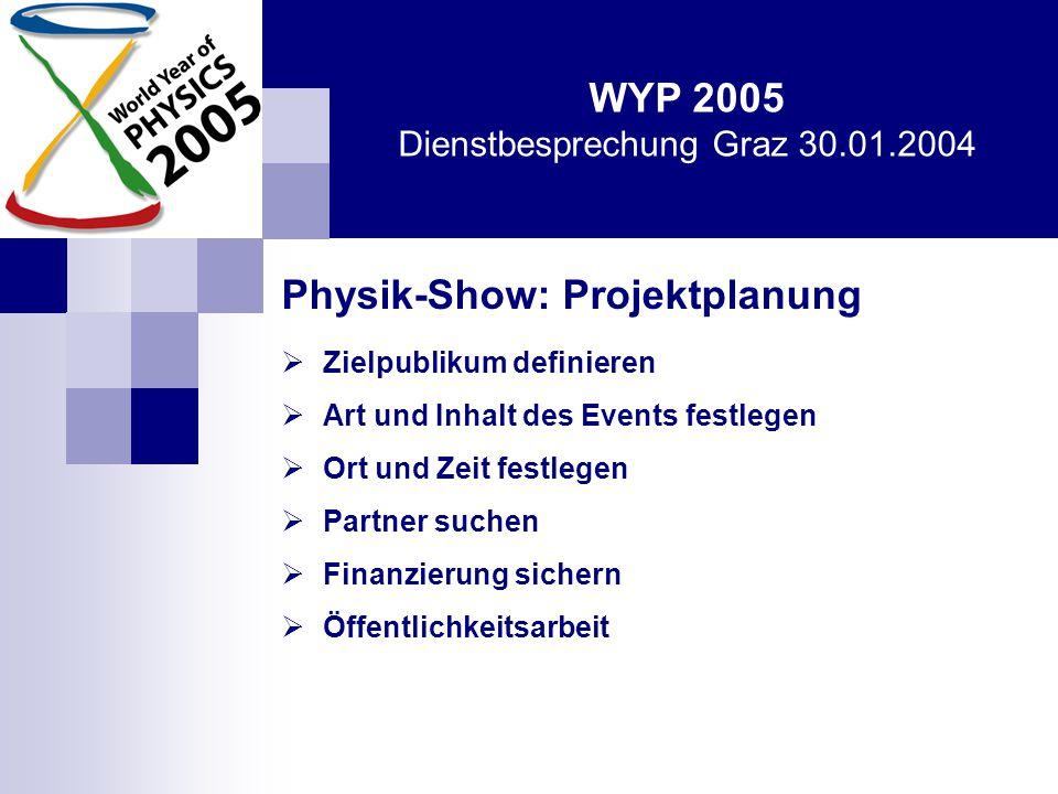 WYP 2005 Dienstbesprechung Graz 30.01.2004 … was noch wichtig ist:  jeder einzelne Physiker ist aufgerufen, aktiv – im Rahmen seiner Möglichkeiten – mitzumachen  österreichweites Organisationskommittee, spezielle Ansprechpartner in einzelnen Bundesländern  Homepage: www.wyp2005.at