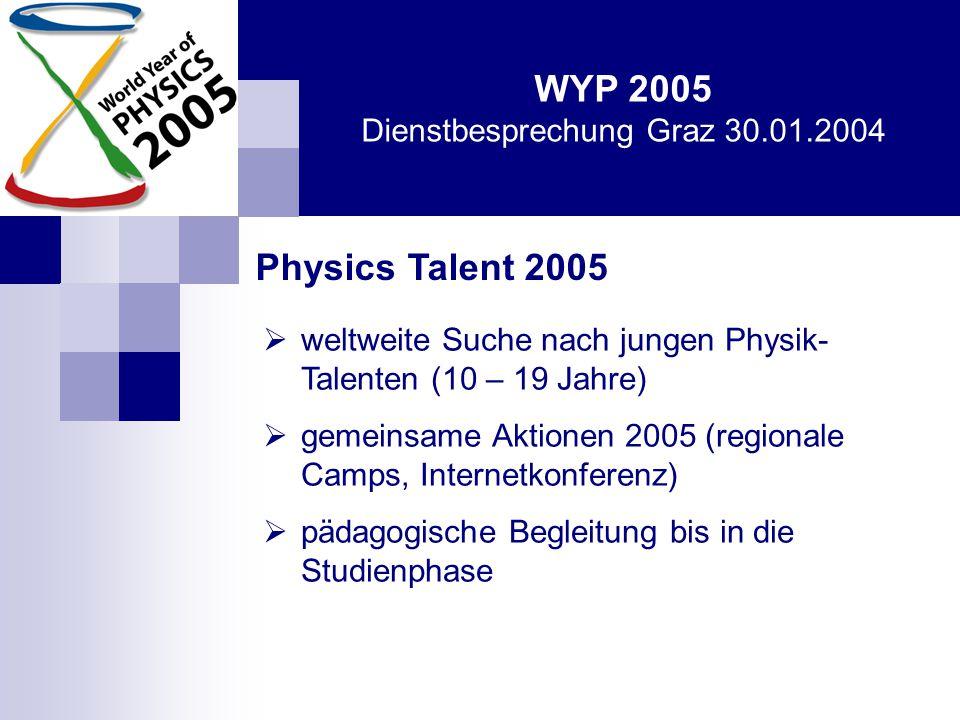 WYP 2005 Dienstbesprechung Graz 30.01.2004 Physics Talent 2005 - Austria  Ausschreibung Juni 2004  Vorschlag durch LehrerInnen bis Anfang 2005: Phantasie ist wichtiger als Wissen, denn Wissen ist begrenzt (Einstein).