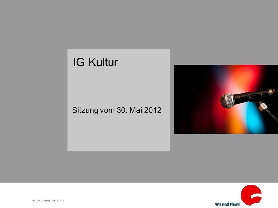 2 | Sitzungsablauf 1) Letztes Protokoll 2) Home Page 3) Lindensaal 4) Flawiler Preis 5) Jahresplanung 6) Umfrage IG Kultur | Spurgruppe | 2012