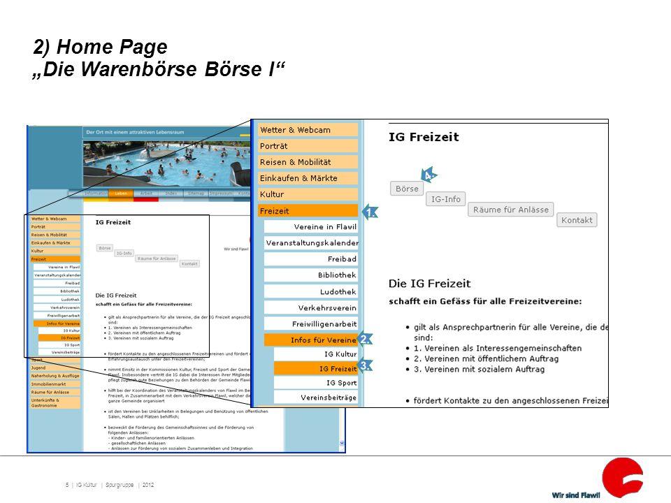 "6 | IG Kultur | Spurgruppe | 2012 2) Home Page ""Die Warenbörse Börse II"