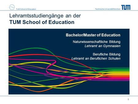 Technische Universität München TUM School of Education Bachelor/Master of Education Naturwissenschaftliche Bildung Lehramt an Gymnasien Berufliche Bildung.