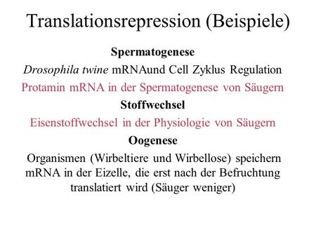 Translationsrepression (Beispiele) Spermatogenese Drosophila twine mRNAund Cell Zyklus Regulation Protamin mRNA in der Spermatogenese von Säugern Stoffwechsel.