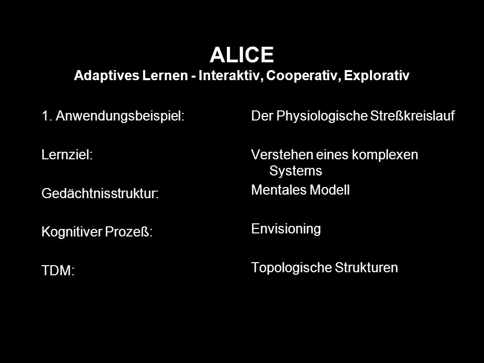 ALICE Adaptives Lernen - Interaktiv, Cooperativ, Explorativ 1.