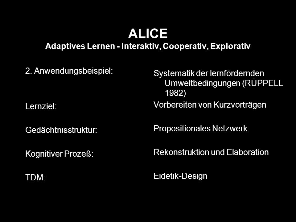 ALICE Adaptives Lernen - Interaktiv, Cooperativ, Explorativ 2.