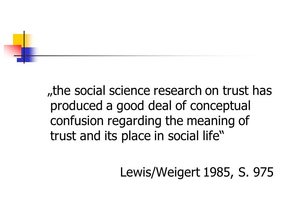 Gemeinsame Elemente von Vertrauensdefinitionen Erwartung Unvollständiges Wissen über die Wahrscheinlichkeit des Eintretens Keine (vollständige) Kontrolle Handlungsrelevanz für die Vertrauenden Konsequenzen für die Vertrauenden