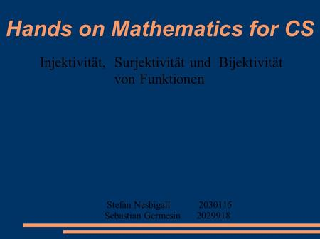 Hands on Mathematics for CS