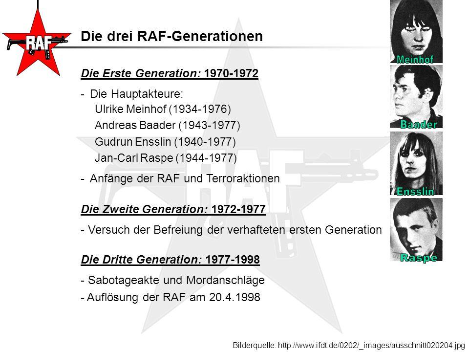 """Gefangenname Gefangenname fast aller RAF-Mitglieder im Juni 1972 1 Jahr in verschiedenen Gefängnissen -> Isolationshaft (Meinhof in """"Totem Trakt ) Interner verstärkter Verhaltenskatalog (!!!) Kommunikation über Anwälte (Sympathisanten) 3 Hungerstreiks: => Beim 3."""