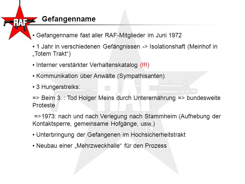 """Stammheim Geiselname in der deutschen Botschaft in Stockholm -Forderung: Freilassung von 26 RAF-Terroristen (darunter Baader-Meinhof-Gruppe) -Beschluss des Bundeskanzlers Helmut Schmidt: """"Meine Herren, mein ganzer Instinkt sagt mir, dass wir hier nicht nachgeben dürfen. (Zitat 1) =>Tod zweier Geiseln, schwere Verletzungen bei allen anderen Beteiligten (Fehlzündung eines Sprengsatzes) 21.5.1975: Prozessbeginn, Vorsitzender: Dr."""