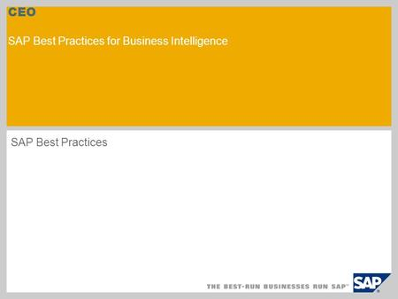 CEO SAP Best Practices for Business Intelligence SAP Best Practices.