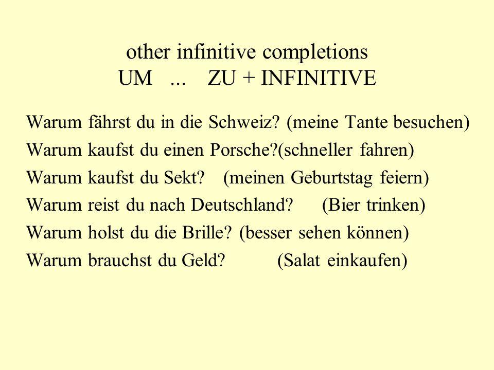 other infinitive completions UM...ZU + INFINITIVE Warum fährst du in die Schweiz.