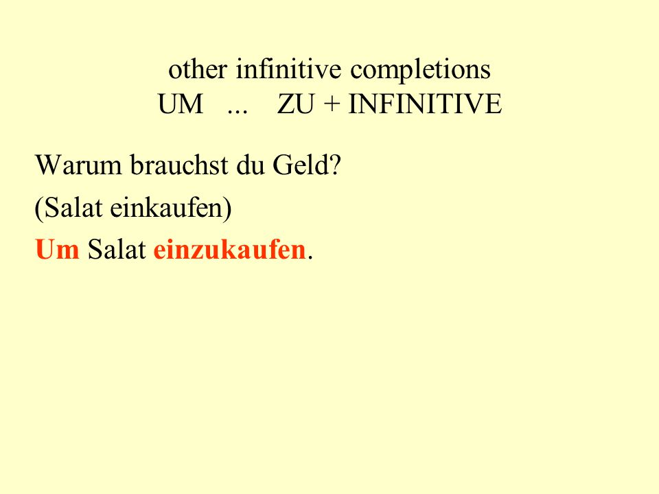 """infinitive completions with and without """"zu without ZU modals + inf."""