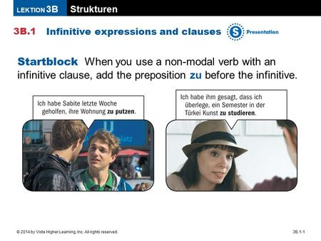 Strukturen 3B.1 LEKTION 3B 3B.1-1© 2014 by Vista Higher Learning, Inc. All rights reserved. Infinitive expressions and clauses Startblock When you use.