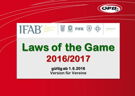 Laws of the Game 2016/2017 gültig ab 1.6.2016 Version für Vereine Laws of the Game 2016/2017 gültig ab 1.6.2016 Version für Vereine 1.