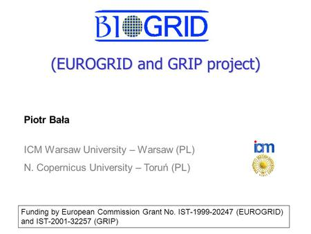 (EUROGRID and GRIP project) Piotr Bała ICM Warsaw University – Warsaw (PL) N. Copernicus University – Toruń (PL) Funding by European Commission Grant.
