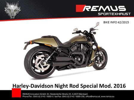 Harley-Davidson Night Rod Special Mod. 2016 BIKE INFO 42/2015.