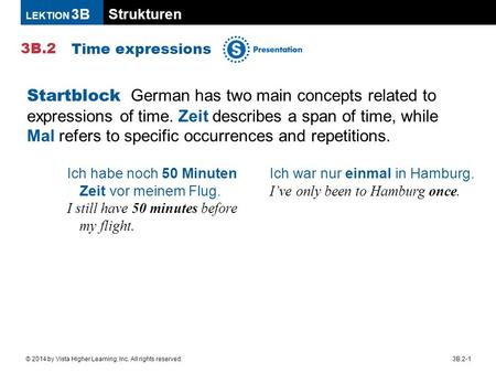Strukturen 3B.2 LEKTION 3B 3B.2-1© 2014 by Vista Higher Learning, Inc. All rights reserved. Time expressions Startblock German has two main concepts related.
