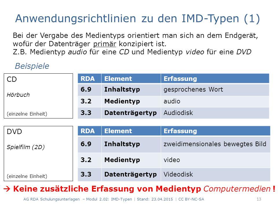 Anwendungsrichtlinien zu den IMD-Typen (2) Inhaltstyp RDA 6.9.1.3 D-A-CH Medientyp RDA 3.2.1.3 D-A-CH Datenträgertyp RDA 3.3.1.3 D-A-CH Die IMD-Typen werden nur für die Hauptkomponente erfasst, jedoch nicht für Begleitmaterial.