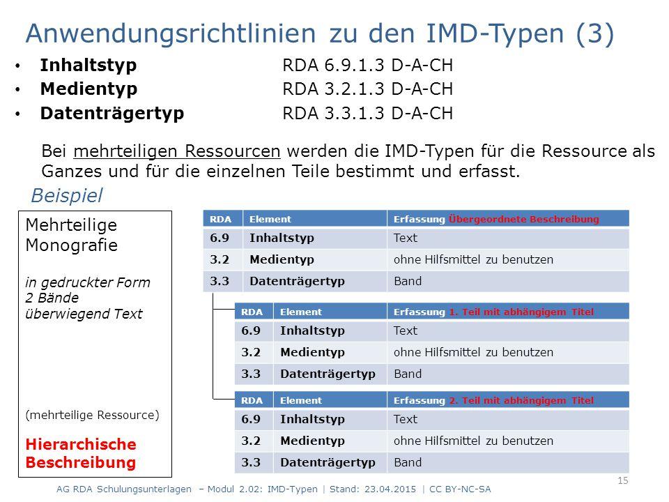Anwendungsrichtlinien zu den IMD-Typen (3) 16 Mehrteilige Ressource aus mehreren verschiedenen Datenträgern Textbücher Audio-CDs DVD-ROM (mehrteilige Ressource) Hierarchische Beschreibung RDARDA-ElementErfassung Übergeordnete Beschreibung 6.9InhaltstypText Band   gesprochenes Wort CDs   Computerdaten DVD-ROM 3.2Medientypohne Hilfsmittel zu benutzen Band   audio CDs   Computermedien DVD-ROM 3.3DatenträgertypBand Band   Audiodisk CDs   Computerdisk DVD-ROM Beispiel RDAElementErfassung Teil mit abhängigem Titel (Lehrbuch) 6.9InhaltstypText 3.2Medientypohne Hilfsmittel zu benutzen 3.3DatenträgertypBand RDAElementErfassung Teil mit abhängigem Titel (Begleitbuch) 6.9InhaltstypText 3.2Medientypohne Hilfsmittel zu benutzen 3.3DatenträgertypBand RDAElementErfassung Teil mit abhängigem Titel (Audio-CDs) 6.9Inhaltstypgesprochenes Wort 3.2Medientypaudio 3.3DatenträgertypAudiodisk RDAElementErfassung Teil mit abhängigem Titel (DVD-ROM) 6.9InhaltstypComputerdaten 3.2MedientypComputermedien 3.3DatenträgertypComputerdisk