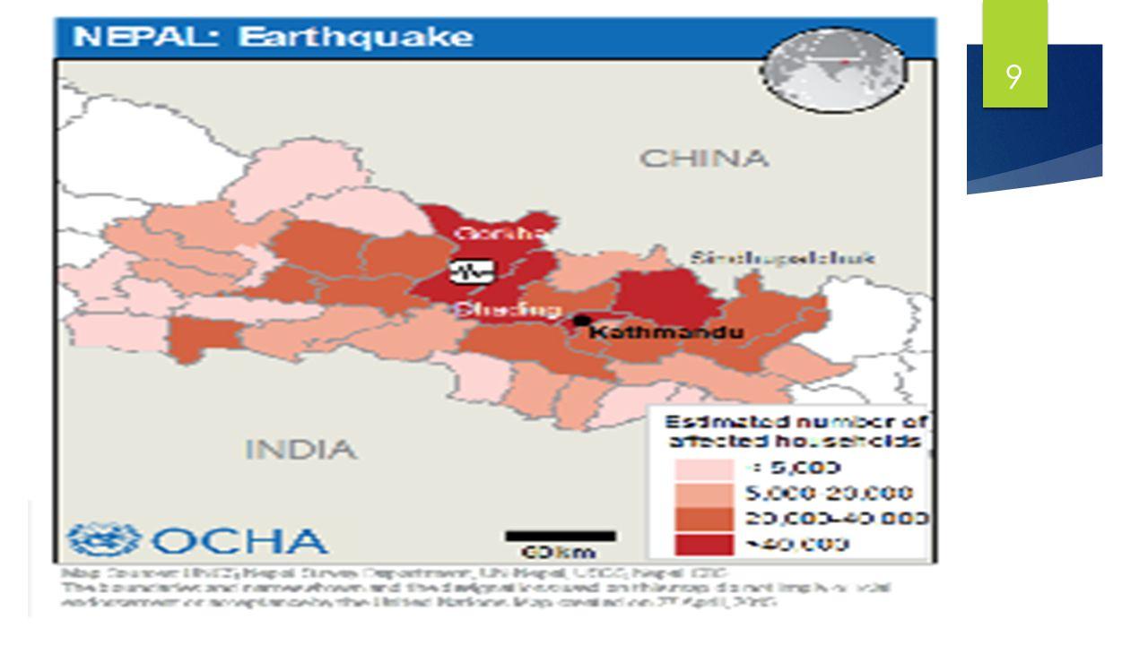 Nach dem Erdbeben  35 betroffene Distrikte  Darunter: Sindulpalchowk, Kavre, Nuwakot, Rasuwa, Dhading  1,326, 573 Menschen direkt betroffen  693,190 Frauen  107,158 Kleinkinder (unter 5)  691,775 Kinder u Jugendliche (bis18 Jahre) 10
