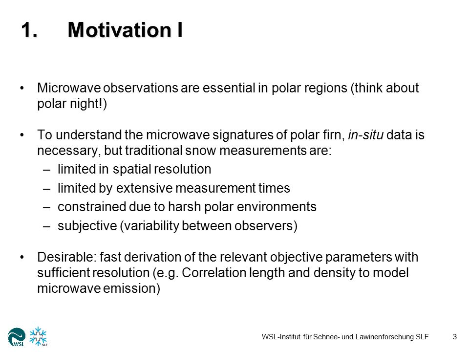 1.Motivation 1.Motivation II Where to measure (Sampling design).