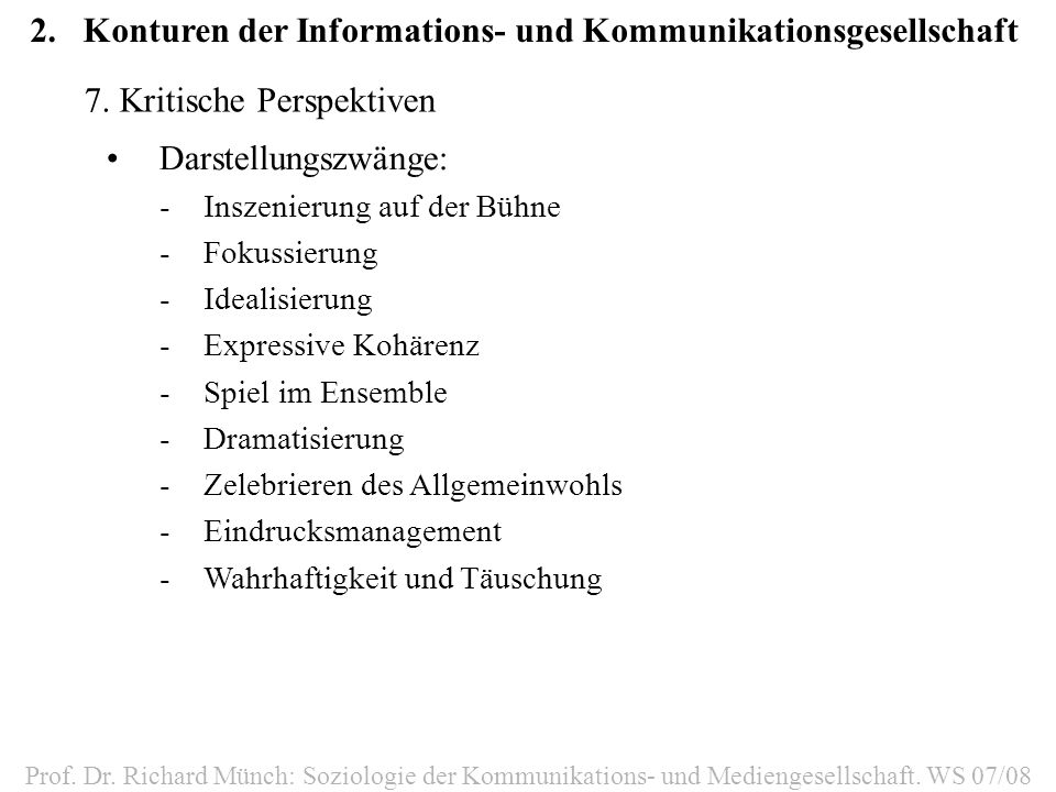 2.Konturen der Informations- und Kommunikationsgesellschaft Prof.