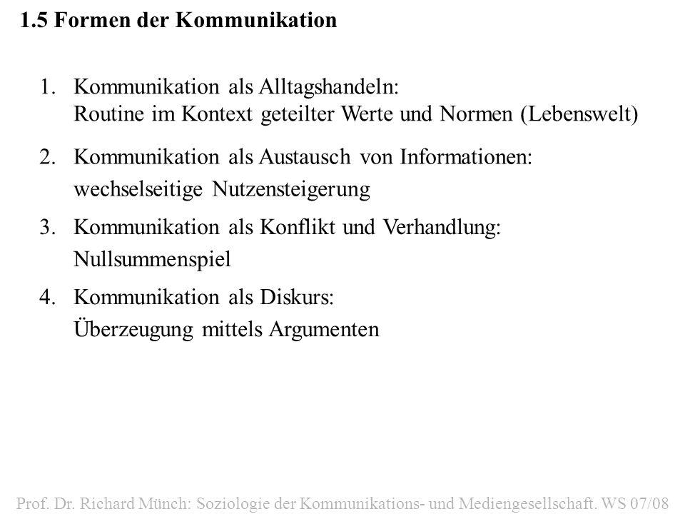 1.6Kontexte der Kommunikation Interaktion-formal -informell Individualkommunikation GruppeGruppenkommunikation OrganisationOrganisationskommunikation GesellschaftMassenkommunikation Prof.