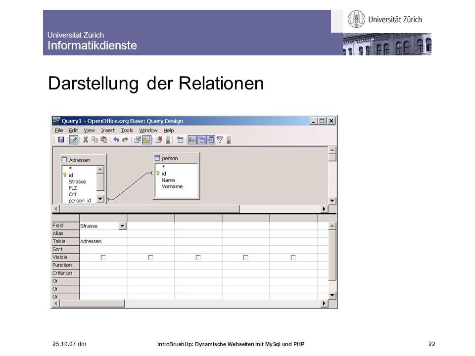 Universität Zürich Informatikdienste 25.10.07 dm IntroBrushUp: Dynamische Webseiten mit MySql und PHP 23 Query erstellen:
