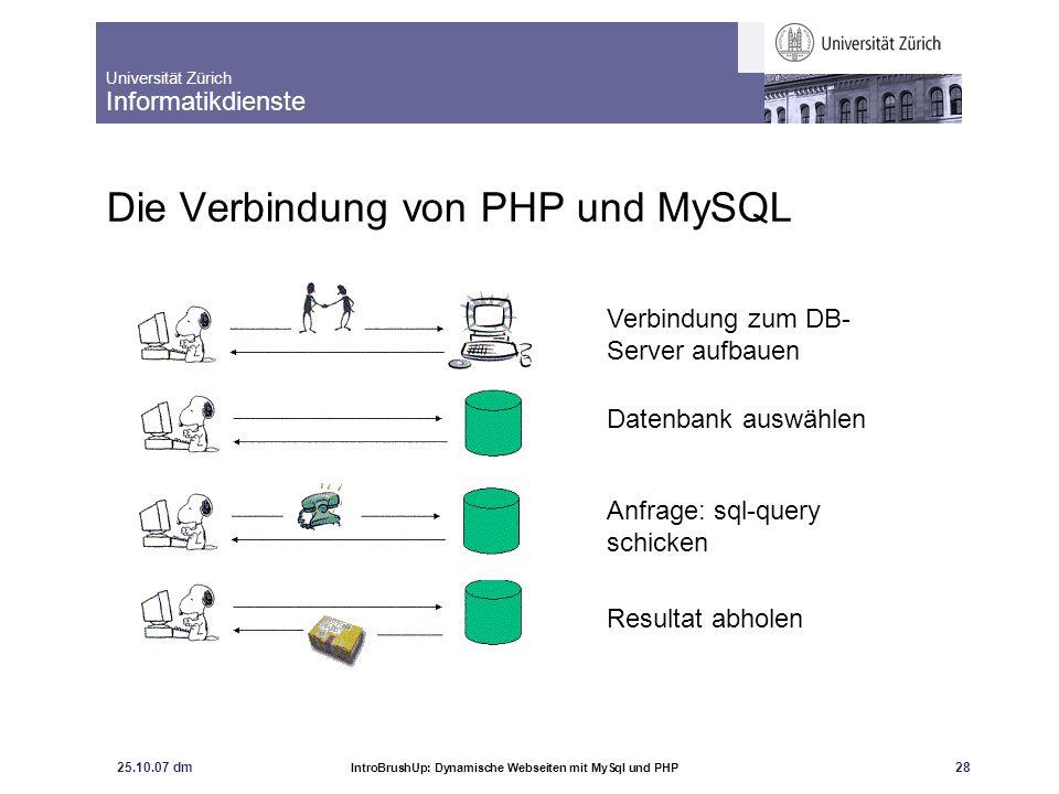 Universität Zürich Informatikdienste 25.10.07 dm IntroBrushUp: Dynamische Webseiten mit MySql und PHP 29 Die Verbindung von PHP und MySQL
