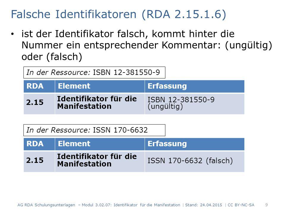 Erläuterung -1- (RDA 2.15.1.7) wenn es mehrere Identifikatoren gibt, muss der erste erfasst werden; weitere können angegeben werden bei Identifikatoren gleichen Typs wird eine Erläuterung ergänzt (z.