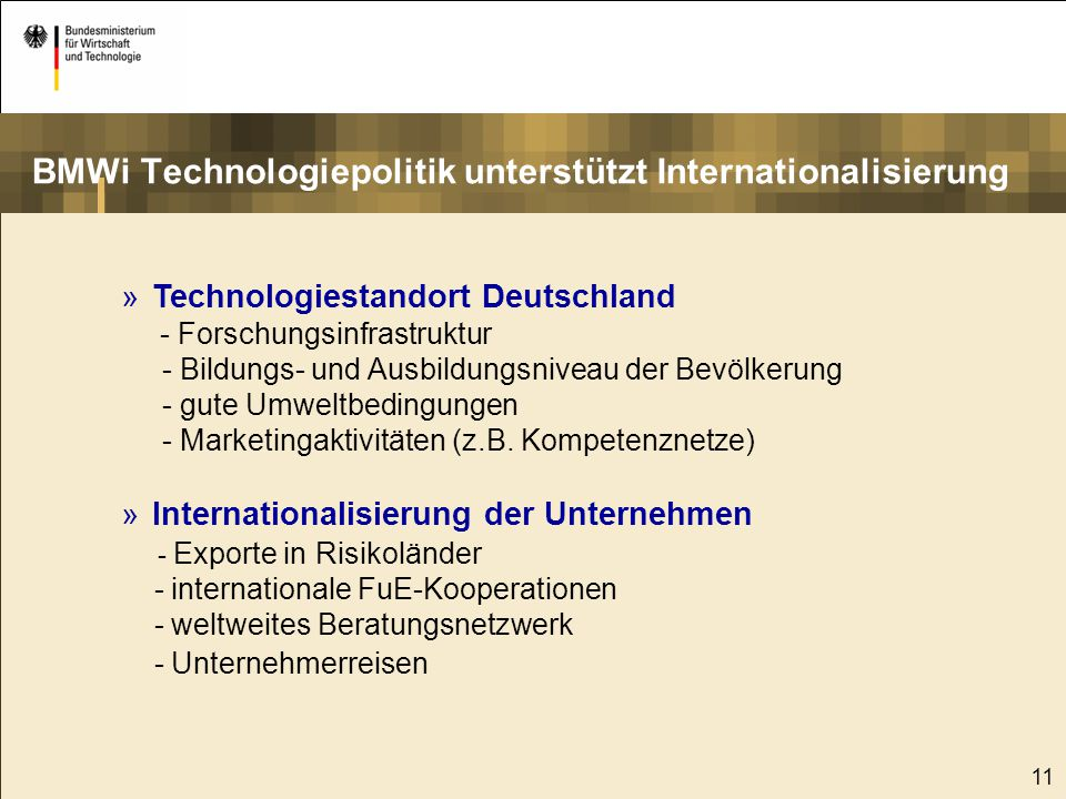 12 Rahmenbedingungen Technologiespezifische Fachprogramme Institutionelle Förderung/Bundesanstalten Bereiche der Technologiepolitik greifen ineinander Technologie offene Innovationsförderung