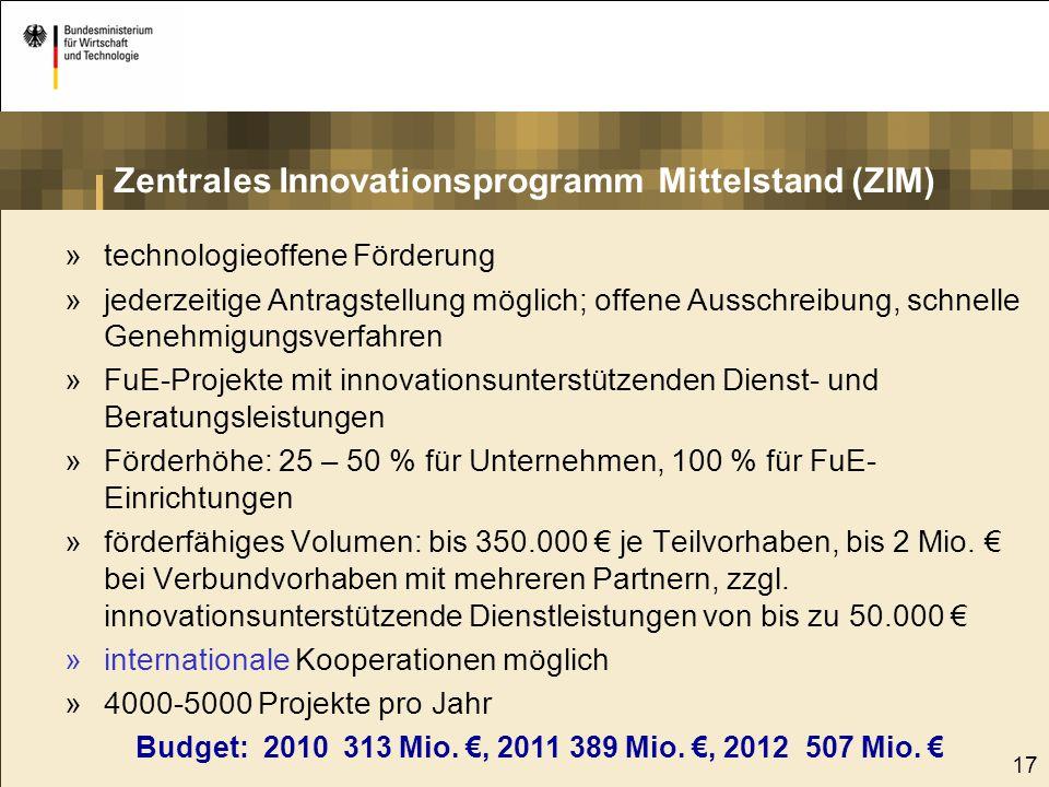 18 Förderung branchenweiter Forschung Zuschüsse an Mitgliedsvereinigungen der AiF für branchenorientierte Forschungsprojekte ZUTECH branchenübergreifende Forschungsprojekte CORNET europäische, branchenweite FuE-Projekte Budget 2010: 128 Mio.