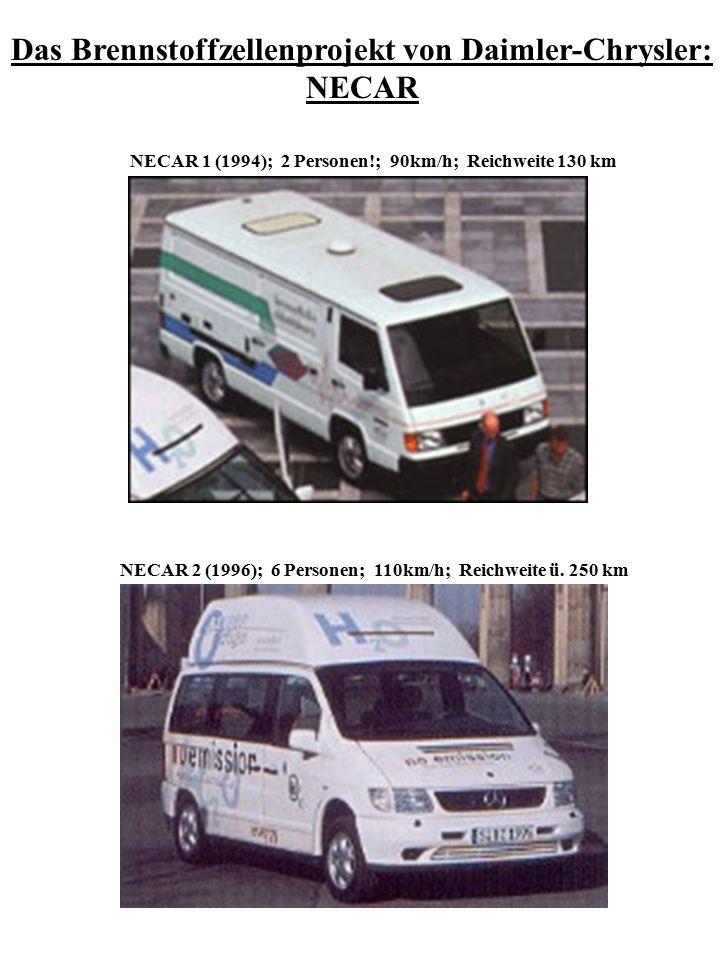 NECAR 5 (2000) Kleinserie ab 2003; 55 kW; 5 Personen; Reichweite ü.150km; 140 km/h