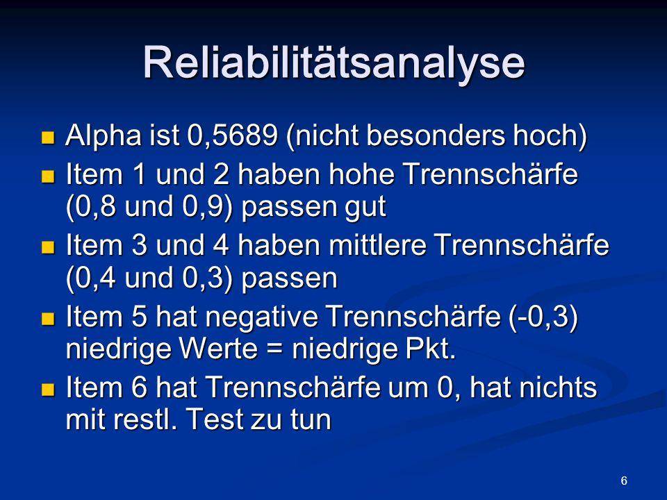 7 Spalte: Alpha if Item deleted: Wenn Item weg wäre, wäre Alpha höher, das ist bei Item 5 und 6 der Fall (INHALTLICHE ERKLÄRUNG bei Streichung UNBEDINGT NÖTIG!!) Reliabilitätsanalyse