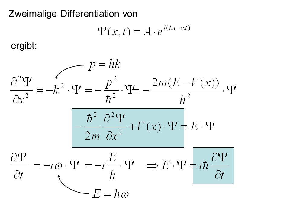 Diskussion von Y(x,t): In unserem Experiment: Was geschieht wenn jeweils nur ein Elektron auf die Folie trifft.