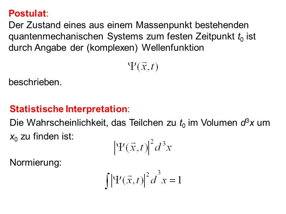 Postulat: Die zeitliche Entwicklung der Wellenfunktion ist durch die Schrödingergleichung gegeben.