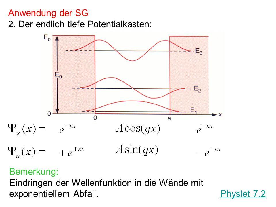 Unbekanntes Potential Physlet 7.5 Pot1 Was sagt die Krümmung der Wellenfunktion aus? SG: