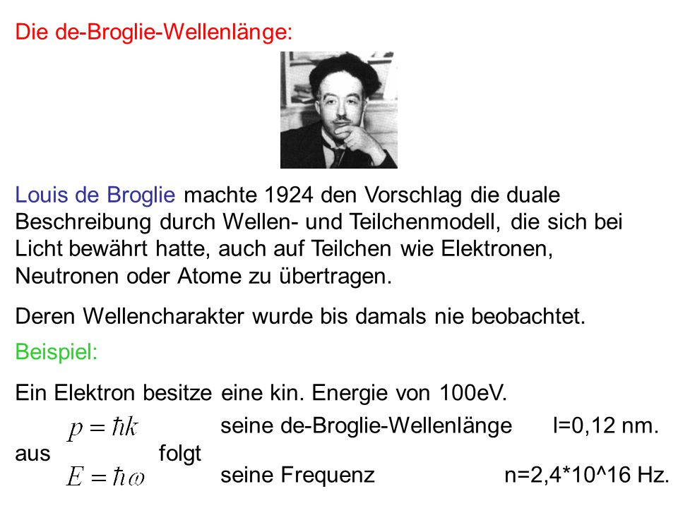 Davisson und Germer: Beugung von Elektronen Sie demonstrierten 1926 den Wellencharakter von Teilchen.